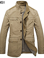 Men's jacket thin coats of spring and autumn tide young long military style jacket lapel