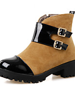 Women's Shoes Suede Chunky Heel Comfort Boots Outdoor Black / Brown / Red