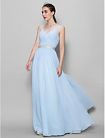 Floor-length Chiffon Bridesmaid Dress - Sky Blue A-line Straps