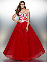 Formal Evening Dress - Burgundy A-line Sweetheart Floor-length Chiffon