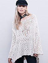 Women's Sexy Fashion  Round Neck Hollow Out Split Long Sleeve Blouse/Sweater (Acrylic)