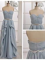 Vestido de Dama de Honor - Azul cielo Corte A Escote Corazón - Hasta el Suelo Gasa