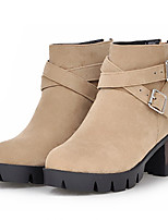 Women's Shoes Leatherette Low Heel Fashion Boots Boots Outdoor / Casual Black / Red / Beige