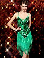 Latin Dance Dresses Women's Performance Nylon / Spandex / Sequined Sequins / Tassel(s) 1 Piece 4 Colors