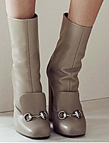 Women's Shoes Leather Chunky Heel Fashion Boots Boots Office & Career / Party & Evening / Dress Brown / Gray