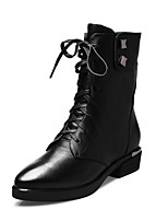 Women's Shoes Leather Low Heel Fashion Boots / Pointed Toe Boots Office & Career / Casual Black
