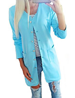 Women's Candy Color Round Long Sleeve Straight Coat
