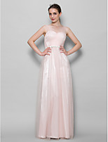 Floor-length Tulle Bridesmaid Dress - Pearl Pink A-line V-neck