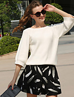 Women's Solid White Kint Pullover , Casual Long Sleeve