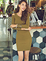 Women's Solid Pink / Black / Green Dress , Sexy Long Sleeve