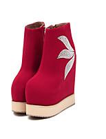 Women's Shoes Fleece Wedge Heel Round Toe Boots Casual Black / Red