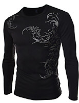 Men's Long Sleeve T-Shirt , Cotton Blend Casual / Work / Formal / Sport / Plus Sizes Print