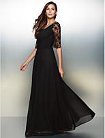 저녁 정장파티 드레스 - 블랙 A라인 바닥 길이 스쿱 쉬폰 / 레이스