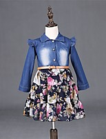 Girl's Blue Dress , Floral Denim Spring / Fall