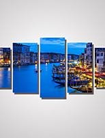 5 Panels Venice The City Light Picture Print on Canvas Unframed