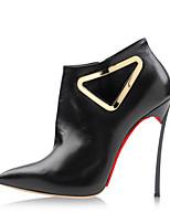 Women's Shoes Leather Stiletto Heel Heels / Pointed Toe Heels Wedding / Party & Evening / Dress Black