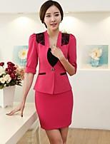 Women's Solid Blue / Red / White Blazer , Work / Plus Sizes Notch Lapel ½ Length Sleeve