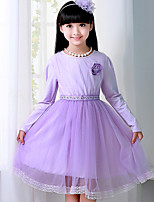 Girl's Purple Dress , Floral Cotton Blend / Mesh Fall