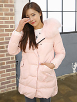 Women's Solid Blue / Pink / Black Down Coat , Casual Hooded Long Sleeve