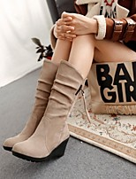 Women's Shoes Leatherette Wedge Heel Wedges / Round Toe Boots  Office & Career / Casual Black / Brown / Red / Beige