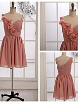 Knee-length Chiffon Bridesmaid Dress - Blushing Pink A-line Straps
