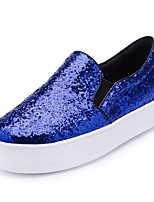 Women's Shoes Leather Flat Heel Round Toe Loafers Outdoor / Casual Black / Blue / White / Silver / Gray / Gold