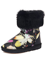 Women's Shoes Leather Platform Snow Boots / Round Toe Boots Dress / Casual Black / White