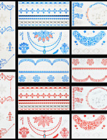 12pcs Red Blue Color Christmas Tree Snowflake Flowers Temporary Flash Metallic Tattoos Sticker Waterproof