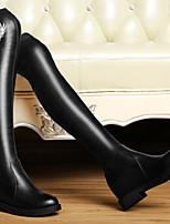 Chaussures Femme - Mariage / Habillé / Soirée & Evénement - Noir - Gros Talon - Talons / Bout Arrondi - Bottes - Cuir Verni