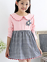 Girl's Pink / White Dress , Check Cotton Winter / Spring / Fall