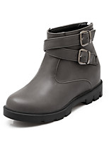 Women's Shoes Wedge Heel Fashion Boots / Round Toe Boots Dress / Casual Brown / Red / Gray