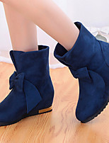 Women's Shoes Suede Bowknot Wedge Heel Comfort / Round Toe Boots Casual Black / Blue / Red