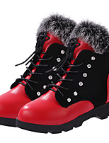 Women's Shoes Leatherette Flat Heel Fashion Boots Flats / Boots Outdoor / Casual Black / Red
