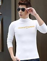 Tee-Shirt Décontracté Pour des hommes Manches longues Couleur plaine Coton