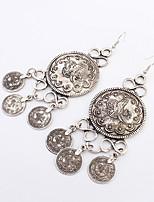 Women's European Style Retro Fashion Round Coins Alloy Earrings