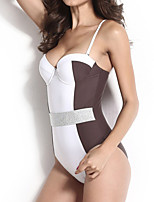 Women's Halter One-pieces , Color Block Push-up Nylon / Spandex Brown