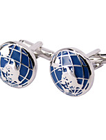 Dark Blue Globe Modelling Men Cufflinks