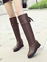 Chaussures Femme - Décontracté - Noir / Marron / Blanc - Talon Compensé - Confort / Bout Arrondi / Bottes à la Mode - Bottes - Similicuir