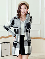 Women's Check Black Cardigan , Casual Long Sleeve