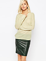 Women's Sexy  Casual Round Collar Hollow Solid Beige  Long Sleeve Pullover