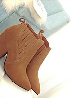 Women's Shoes Leatherette Chunky Heel Pointed Toe Boots Casual Black / Brown