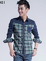In the spring of 2015 new Korean men's casual fashion Plaid Shirt slim sanding warm Mens Long Sleeve Shirt