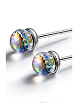 925 Sterling Silver Crystal Ball Fashion Earring Studs Jewelry