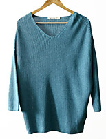 Women's Solid Blue / Beige Pullover , Casual Long Sleeve