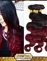 Febay Hair Two Tone Color #1b/99j 3 Bundles Lot Body Wave 7a Virgin Ombre Brazilian Hair Weaving (12