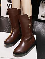 Chaussures Femme - Habillé / Décontracté - Noir / Marron - Talon Compensé - Confort / Bout Fermé - Bottes - Similicuir
