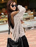 Women's Patchwork Beige Pullover (cotton)