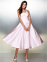 Formal Evening Dress - Candy Pink A-line Halter Tea-length Satin