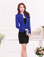 Women's Solid Blue / Brown Blazer , Work Asymmetrical Long Sleeve