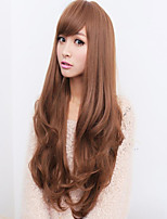 Lady Woman Daily Lovely Long Side Bang Synthetic Wavy Wigs 3 Colors Available